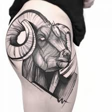 Blackwork Tattoo With Goat And Sketch Work