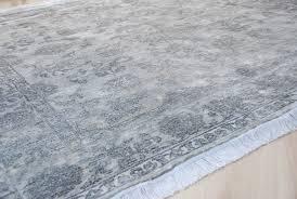 handmade bamboo silk rug saphire 202x255cm