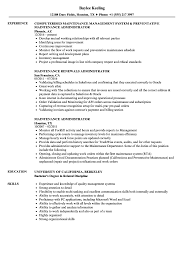 Maintenance Administrator Resume Samples Velvet Jobs