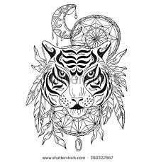 What Native American Tribes Use Dream Catchers Tiger Decorative Moon Dream Catchers Hand Stock Vector 100 94