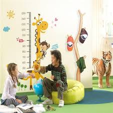 Kindergarten Height Chart Cartoon Children Room Decor Kindergarten Giraffe Height Growth Chart Kids Baby Bedroom Nursery Paper Stickers Wall Sticker For Kids Wall Sticker Home