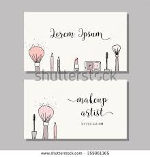makeup artist business card vector template with makeup items pattern brush pencil