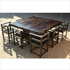 rustic square dining table. Rustic Square Dining Table Modern Solid Wood Pedestal 8 Chairs For 4 L
