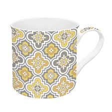 Easy Life Design Coffee Mugs Fine China Mug 300 Ml Trend Color Yellow Baroque