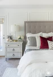 master bedroom. Neutral Master Bedroom With A Pop Of Red
