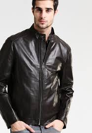 hilfiger men black solid leather jacket lyst tommy
