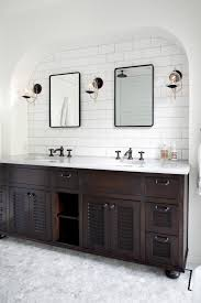 White Wood Bathroom Vanity Double Dark Wood Bathroom Vanities With Travertine Floors Wood