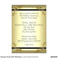 Wedding Anniversary Invitations Templates Elegant Gold Party Card