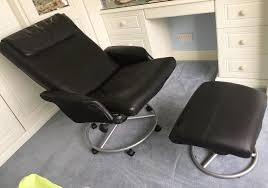 ikea malung leather recliner chair and footstool black excellent condition