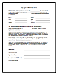 bill of sale equipment bill of sale form download create edit fill and print