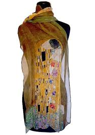 klimt s the kiss scarf in light airy chiffon part of our klimt gifts art collection