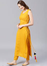 Sleeveless Long Kurti Designs Readymade Straight Cut Long Kurta In Yellow