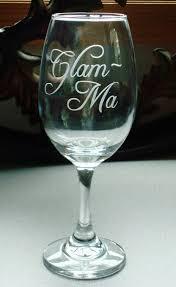 personalized glam ma glamma grandma reveal sandblasted wine glass