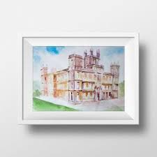 wall art downton abbey watercolor print highclere house tw show poster tv series print poster printable fan gift