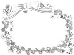 モノトーンのフリー素材ガーリーで大人可愛いリボンと鉛筆画きの小花