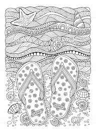 塗り絵の本大人 1 名様海のビーチスリッパ砂と貝殻のます いたずら書き