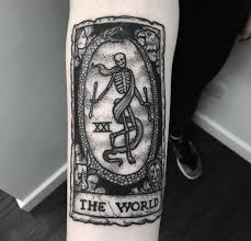 The World Tarot Card With A Skeleton Best Tattoo Design Ideas