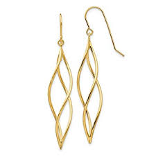 ice carats 14kt yellow gold long twisted drop dangle chandelier earrings fine jewelry ideal gifts for