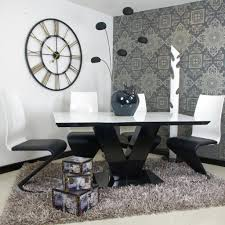black and whitening table chairs uk marble singapore cover round white high gloss dining