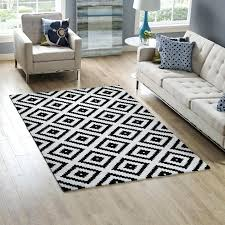 abstract diamond trellis area rug in black and white lifestyle 5x8 rugs