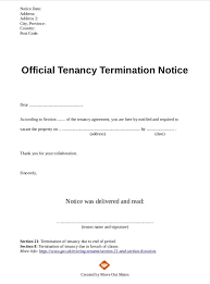 Official Tenancy Termination Notice From Landlord Tenant Sample