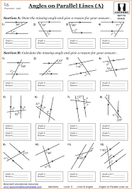parallel lines worksheets angles on and perpendicular worksheet tes