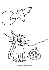 Kleurplaat Halloween Poes Vleermuis Feestdagen