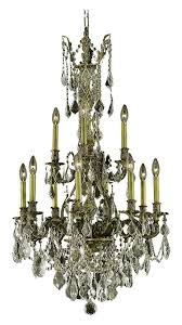 elegant lighting monarch royal cut champagne golden shadow crystal monarch 12 light two tier crystal chandelier finished in antique bronze with champagne