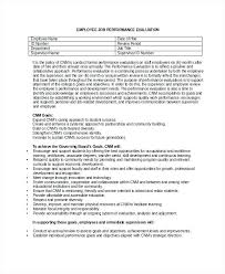 Job Performance Evaluation Form Templates Employee Evaluation Form Example Free Word Documents Regarding Goals
