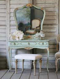 Antique Vanity Table Design Idea Using Turquoise Paint Also ...