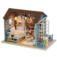 plan toys doll house household accessories set elegant forest time diy doll house assemble kits handmade