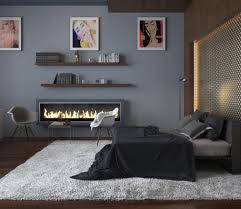 cool teen bedroom ideas with electric fireplace and grey wall color using floating shelves