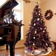 black christmas tree nature inspired tinsel purple tree decorated non .