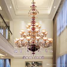 french duplex living room gold large chandelier villa hotel club lobby large led crystal pendant lamps three story long crystal chandelier ceiling pendants
