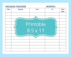 Irs Mileage Chart Mileage Tracker Form Printable Printable Mileage Tracker
