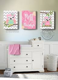 on colorful wall art for nursery with girls wall art owl canvas art baby nursery owl canvas set