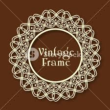 beautiful floral design decorated rounded vintage frame on glossy brown background90 design