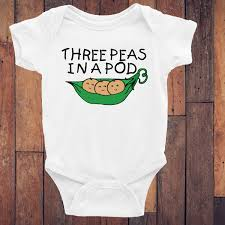 three peas in a pod triplets onesie