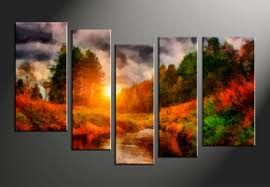 on 5 piece canvas wall art trees with 5 piece scenery nature oil paintings orange multi panel canvas