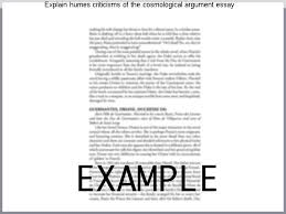 explain humes criticisms of the cosmological argument essay  explain humes criticisms of the cosmological argument essay