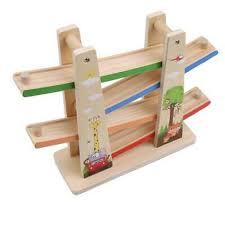 wooden race track car ramp racer w mini cars toddler toy for children kids 6l