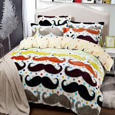 Mustache Bedding Comforter Set Twin Full Queen King Size Duvet Cover Quilt  Bed Linen Fitted Sheet Bedspread Bedclothes 3 Designs Bedclothes Home  Texiles Bed ...