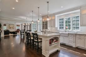 Traditional White Kitchen Dining Island Open To Living Room