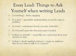 essay leads transitions conclusions essay lead things to ask  2 essay