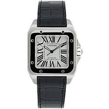 cartier men s watches shop the best deals for 2017 cartier men s santos black leather strap watch