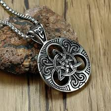 men s lrish celtics trinitys knot pendant necklace for men stainless steel uni vintage gotycki male jewelry