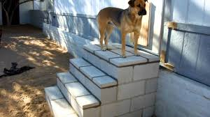 Cinder Block Stairs My Back Yard Block Stairs Finished Youtube