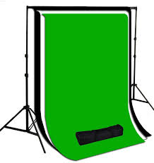 white black green muslin photography background with stand kit