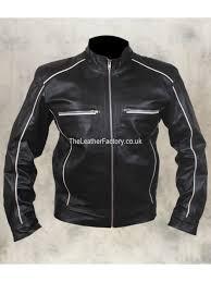 black and white leather jacket