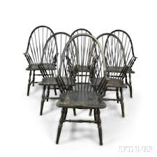black windsor chairs. Six Modern Black-painted Continuous Arm Windsor Dining Chairs Black